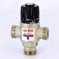 Клапан термосмесительный 3/4 ш/ш/ш боковое смешение 35-60 град. UNI-FITT (Италия)