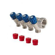 Коллектор 1 4 выхода с регулировочными вентилями Евроконус 3/4 VALTEС (VTс.560.NE.060504)
