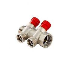 Коллектор 1 2 выхода с регулировочными вентилями Евроконус 3/4 VALTEС (VTс.560 NE.060502)